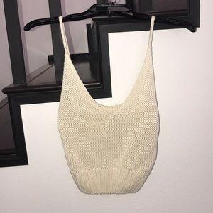 Tops - Cream Crochet Crop Tank
